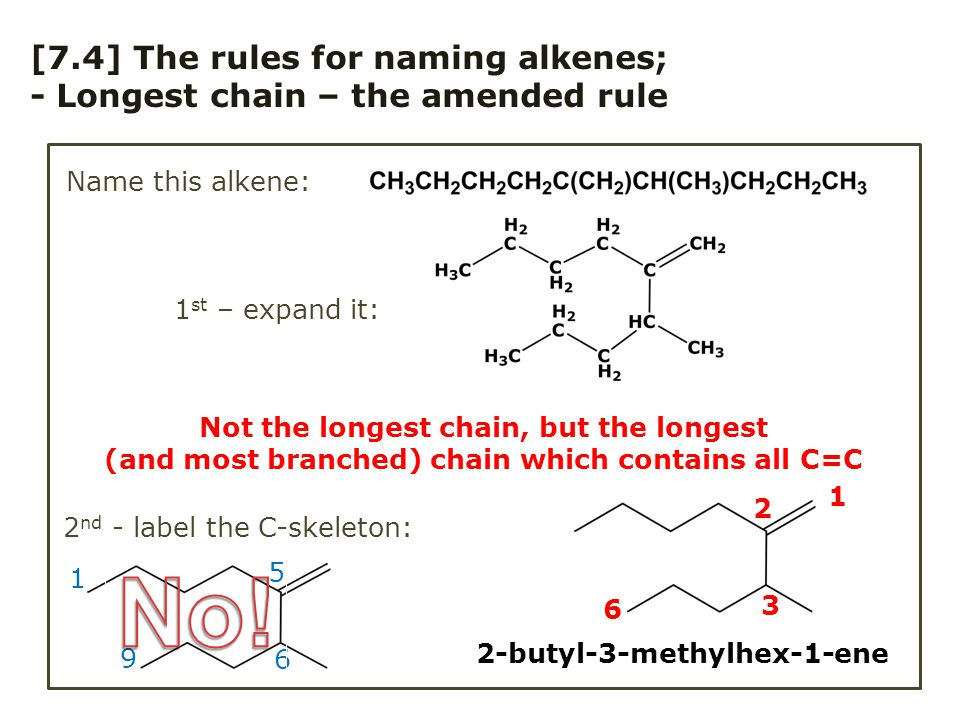 No! [7.4] The rules for naming alkenes;